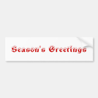 Season's Greetings. Red and White. Custom Bumper Stickers
