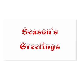 Season's Greetings. Red and White. Custom Business Card Template