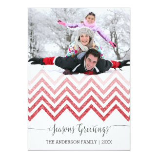 Seasons Greetings red chevron Christmas Card 13 Cm X 18 Cm Invitation Card