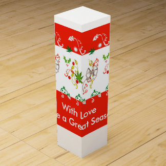 Seasons Greetings Red Decoration Wine Box