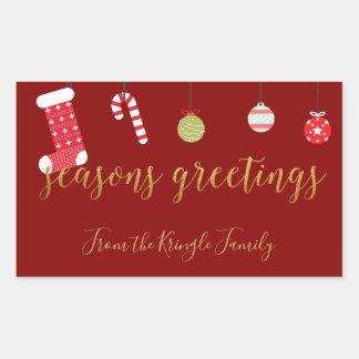 Season's Greetings Red Gold Cute Christmas Rectangular Sticker