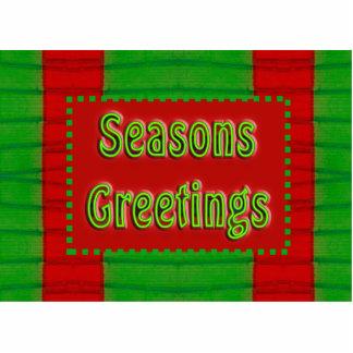 seasons greetings red green photo sculpture magnet