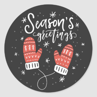 Season's Greetings Red Mittens Holiday Sticker II