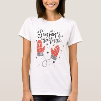 Season's Greetings Red Mittens Holiday T-Shirt