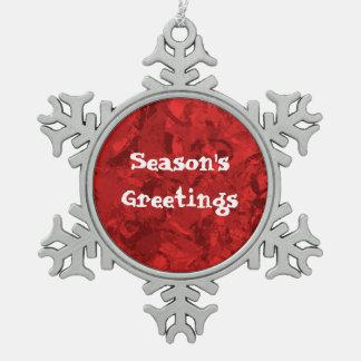 Season's Greetings Red Pewter Snowflake Ornament