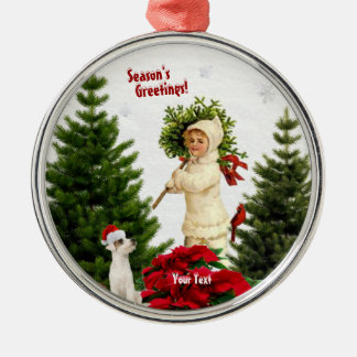 Seasons Greetings Red Poinsettia Premium Round Silver-Colored Round Decoration