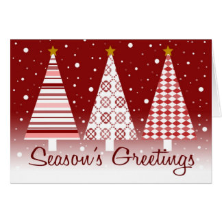 Season's Greetings Red Trees Cards