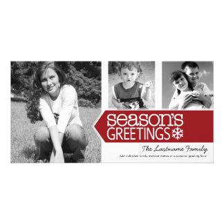 Seasons Greetings Red White - 3 photos Photo Greeting Card