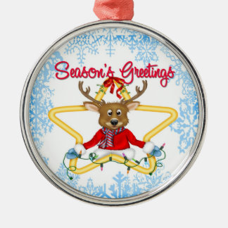 Season's Greetings Reindeer Premium Round Ornament