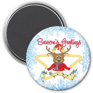 Season's Greetings Reindeer Round Magnet