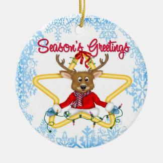 Season's Greetings Reindeer Round Ornament
