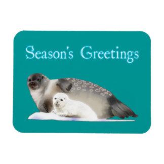Season's Greetings - Ringed Seal Rectangular Photo Magnet