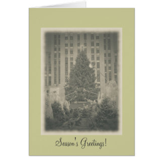 Season's Greetings- Rockefeller Center-Vintage Greeting Card