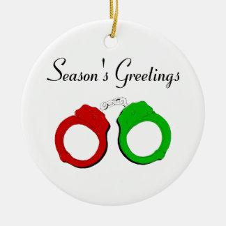 Seasons Greetings Round Ceramic Decoration