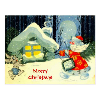 Seasons Greetings, Santa at work Postcard