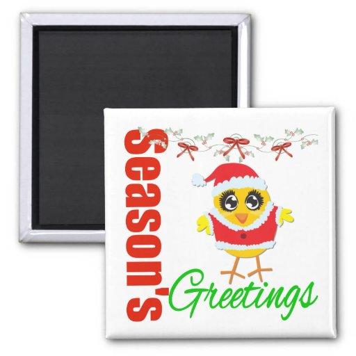 Seasons Greetings Santa Chick Fridge Magnets