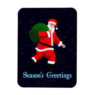 Season's Greetings - Santa Claus Rectangular Photo Magnet