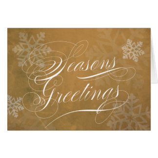 Seasons Greetings Script Gold with snowflakes Greeting Card