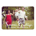 Season's Greetings Script Holiday Photo Flat Card