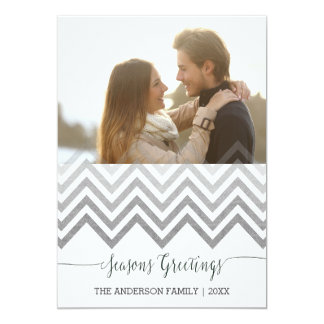 Seasons Greetings silver chevron Christmas Card 13 Cm X 18 Cm Invitation Card