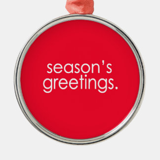 Season's Greetings Silver-Colored Round Decoration