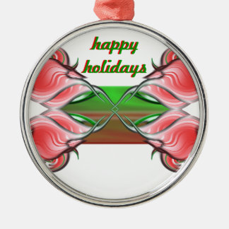 Seasons Greetings Silver-Colored Round Decoration