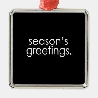 Season's Greetings Silver-Colored Square Decoration