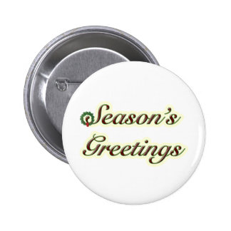 Season's Greetings Simple Text with Wreath 6 Cm Round Badge