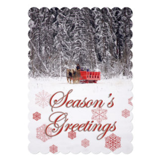 Season's Greetings - Sleigh rides at Stables 13 Cm X 18 Cm Invitation Card