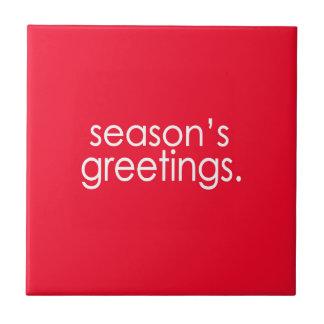 Season's Greetings Small Square Tile