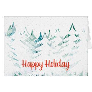 Seasons Greetings Snow Laden Trees White Christmas Card