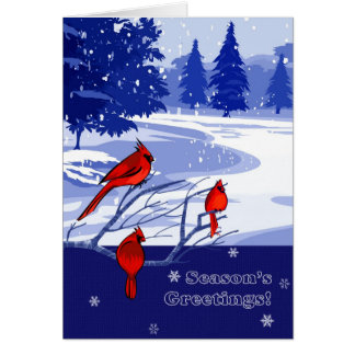 Season's Greetings. Snow Scene Christmas Cards