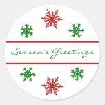 Season's Greetings Snowflake Christmas Gift Tag Round Stickers