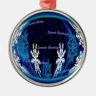 Seasons Greetings Snowflake Globe Silver-Colored Round Decoration