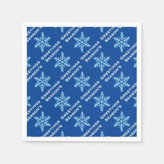 Season's Greetings Snowflake Napkins Disposable Serviettes