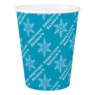 Season's Greetings Snowflake paper Cups