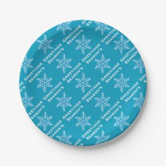 Season's Greetings Snowflake Paper Plates