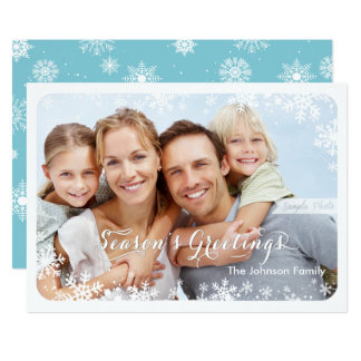 Seasons Greetings - Snowflakes Card 13 Cm X 18 Cm Invitation Card
