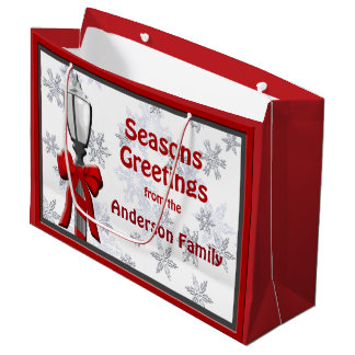 Seasons Greetings Snowflakes Christmas LG GB Large Gift Bag