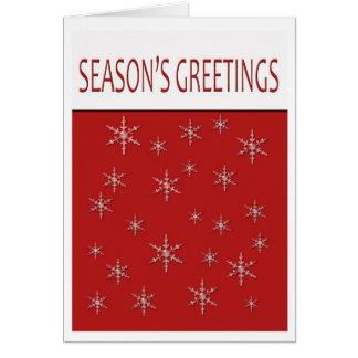 seasons greetings snowflakes greeting card