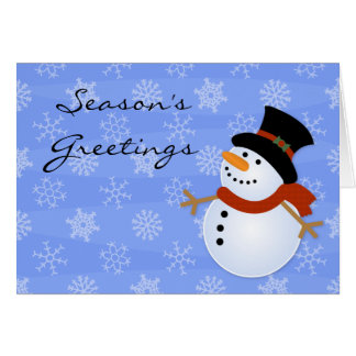 Season's Greetings Snowman Blizzard Holiday Cards