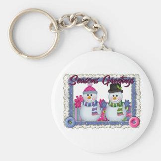 Seasons Greetings snowman Basic Round Button Key Ring