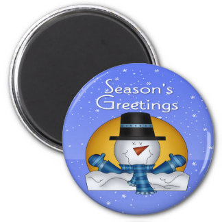 Season's Greetings Snowman Round Magnet
