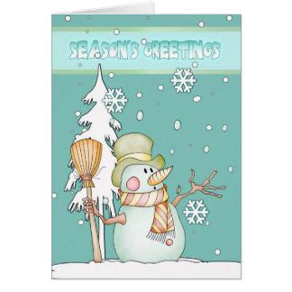 Season's Greetings Snowman - Snowman Greeting Card