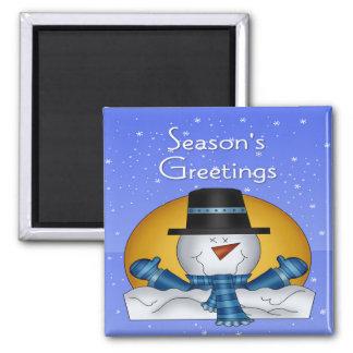 Season's Greetings Snowman Square Magnet
