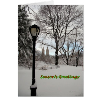 Seasons Greetings Snowy Lamp in Park Card