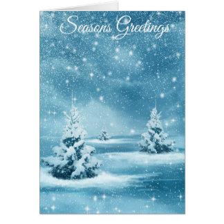 """Seasons Greetings"" snowy trees Chrstmas card"