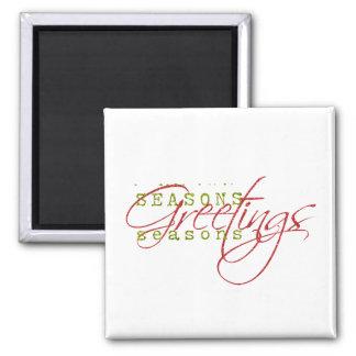 Seasons Greetings Square Magnet