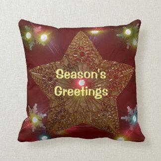 Season's Greetings Star Snowflakes Lights Cushions
