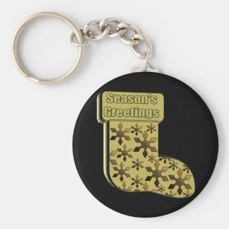 Season's Greetings Stocking Basic Round Button Key Ring